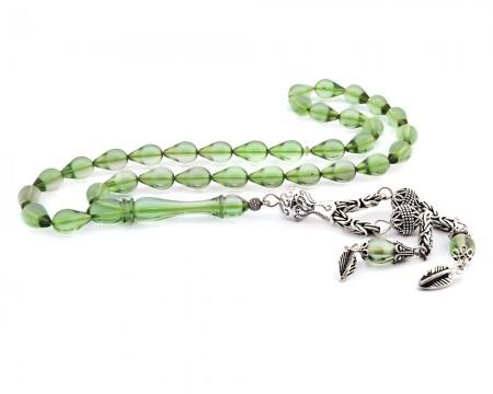 Tesbihane - 925 Ayar Gümüş Su Yeşili Damla Kesim Sıkma Kehribar Tesbih