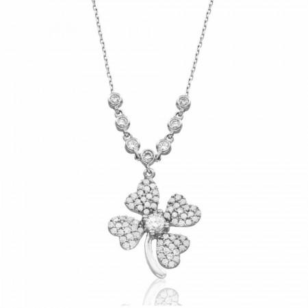 - 925 Ayar Gümüş Su Yolu Çiçek Kolye