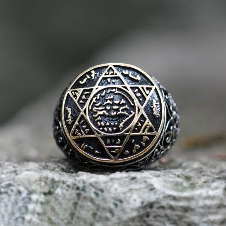 İşlemeli Eskitme Renk Süleyman Mührü Motifli 925 Ayar Gümüş Erkek Yüzük - Thumbnail