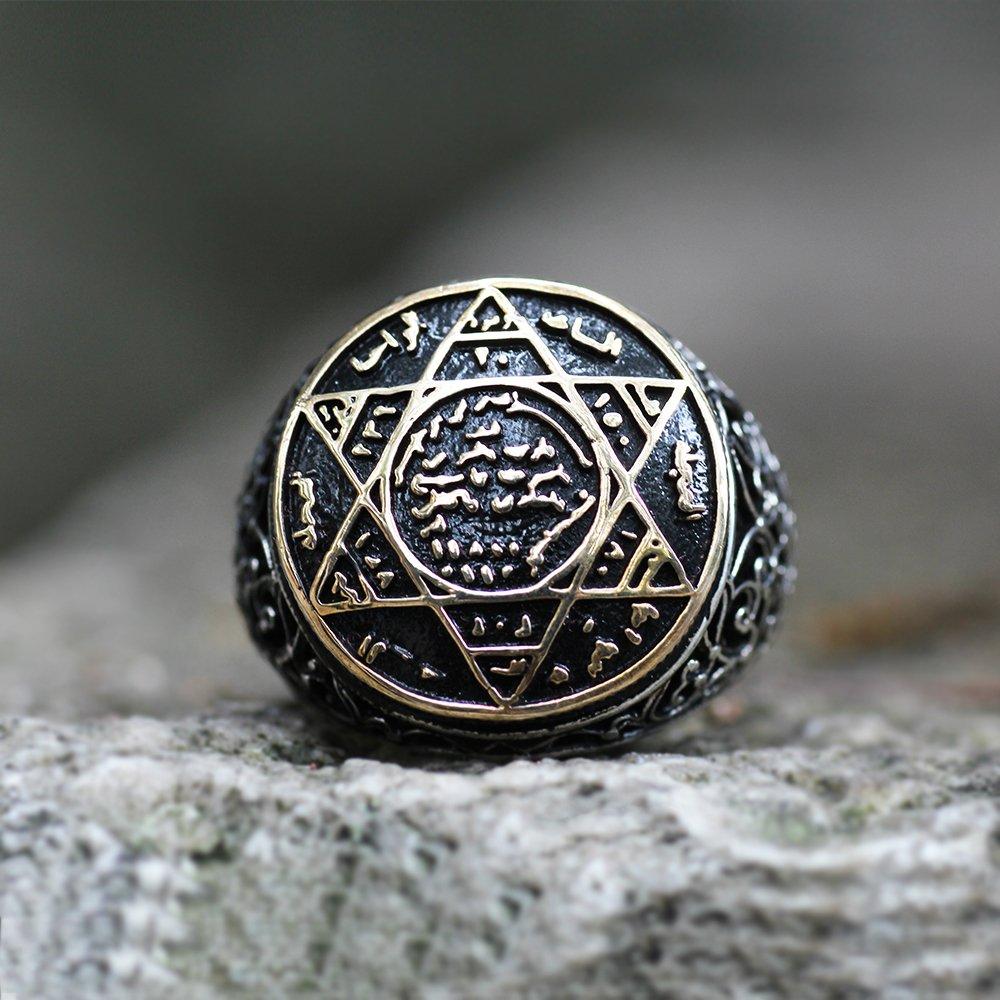 İşlemeli Eskitme Renk Süleyman Mührü Motifli 925 Ayar Gümüş Erkek Yüzük