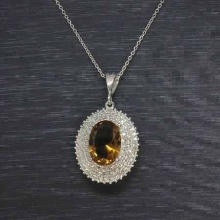 Sultanit Taşlı 925 Ayar Gümüş Bayan Kolye (Model-6) - Thumbnail