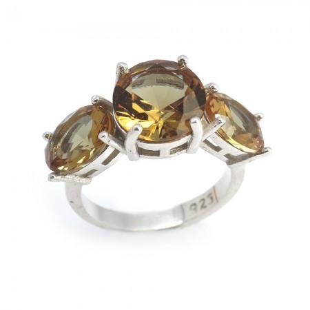Tesbihane - 925 Ayar Gümüş Sultanit Taşlı Bayan Yüzük (Model-44)