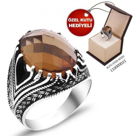 925 Ayar Gümüş Sultanit Taşlı Yüzük (Model-1) - Thumbnail
