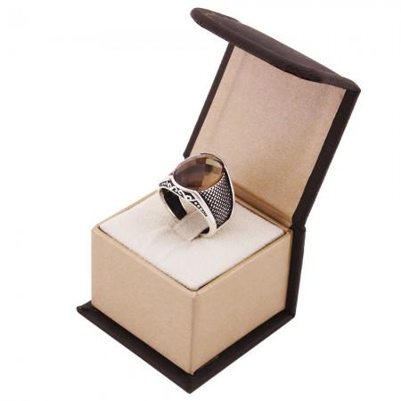 Kutu Hediyeli Nokta İşlemeli Sultanit Taşlı 925 Ayar Gümüş Erkek Yüzük - Thumbnail