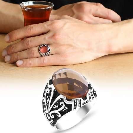 Tesbihane - Kutu Hediyeli Sultanit Taşlı 925 Ayar Gümüş Erkek Yüzük