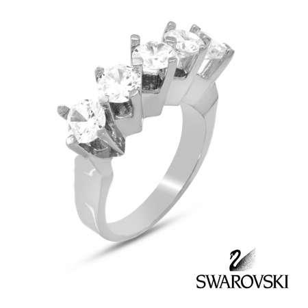 Tesbihane - 925 Ayar Gümüş Swarovski Beştaş Bayan Yüzük (M-1)
