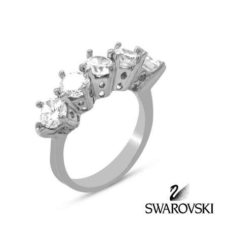Tesbihane - 925 Ayar Gümüş Swarovski Beştaş Bayan Yüzük (M-5)