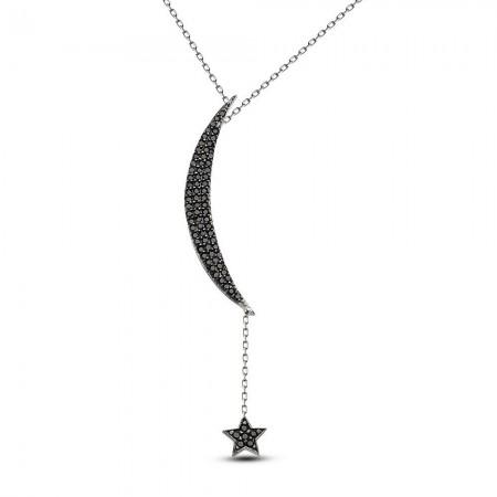 Tesbihane - 925 Ayar Gümüş Tamamı Siyah Zirkon Taşlı Ay ve Yıldız Kolye