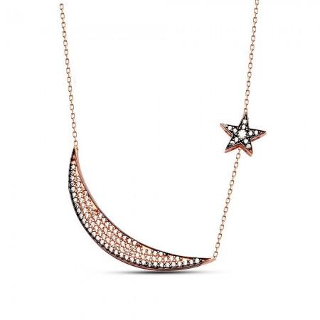 - 925 Ayar Gümüş Tamamı Zirkon Taşlı Ay ve Yıldız Kolye Model 2