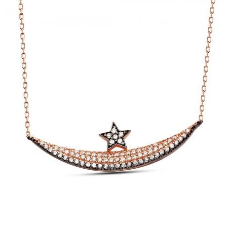 Tesbihane - 925 Ayar Gümüş Tamamı Zirkon Taşlı Ay ve Yıldız Kolye