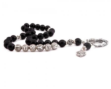 Tesbihane - 925 Ayar Gümüş Püsküllü Küre Kesim İsim Yazılı Siyah Oniks Tesbih
