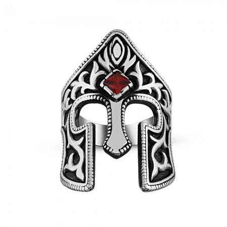 - Kırmızı Zirkon Taşlı 925 Ayar Gümüş Miğfer Yüzük