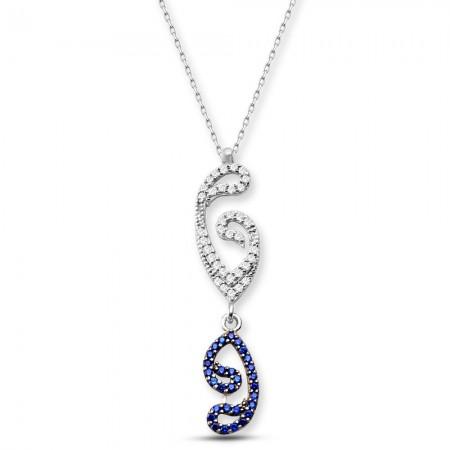 Tesbihane - 925 Ayar Gümüş Ters Vav Kolye (SRD0098)
