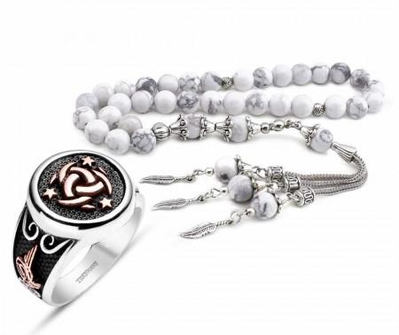 - 925 Ayar Gümüş Teşkilat-ı Mahsusa Yüzüğü ve Havlit Doğaltaş Tesbih Kombini