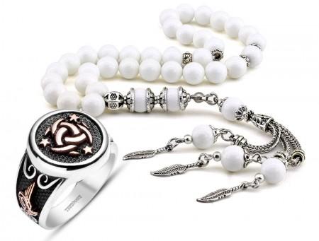 Tesbihane - 925 Ayar Gümüş Teşkilat-ı Mahsusa Yüzüğü ve Özel Kamçılı Sedef Tesbih Kombini