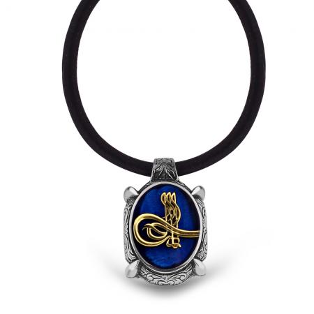 Tesbihane - 925 Ayar Gümüş Tuğra Desen Mavi Mineli Kolye