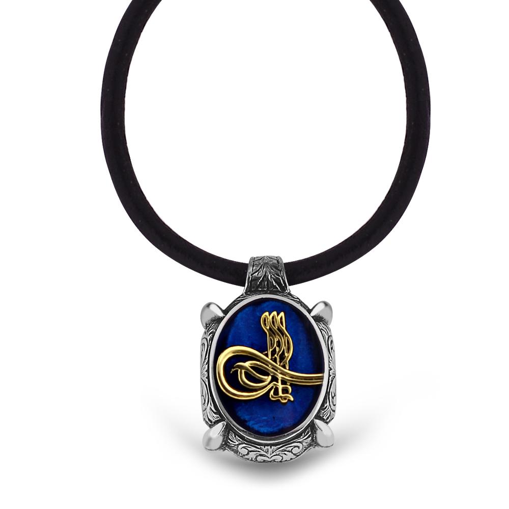 925 Ayar Gümüş Tuğra Desen Mavi Mineli Kolye