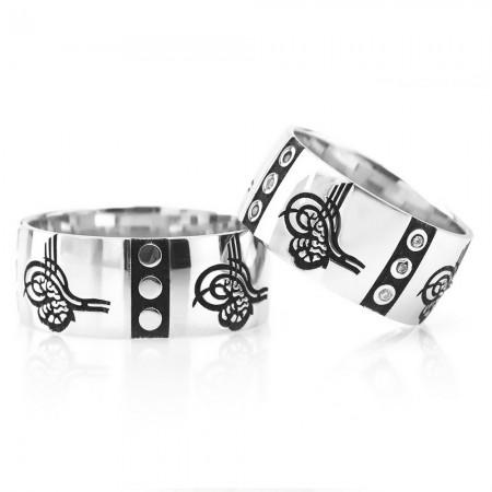 Tesbihane - Tuğra Tasarım 925 Ayar Gümüş Çift Alyans