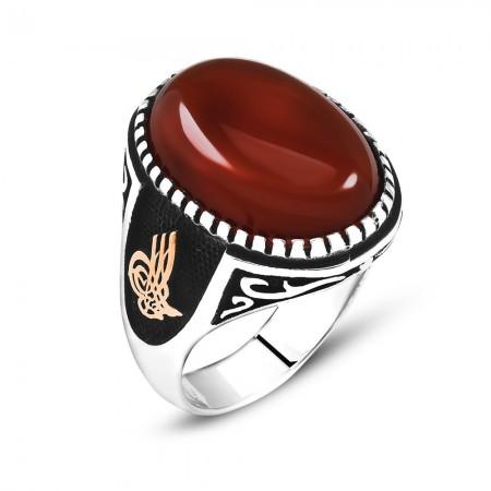 Tesbihane - Tuğra İşlemeli Kırmızı Oval Akik Taşlı 925 Ayar Gümüş Erkek Yüzük