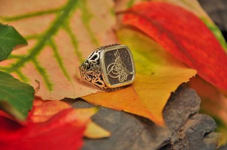 Tesbihane - 925 Ayar Gümüş Tuğra Desenli Yüzük