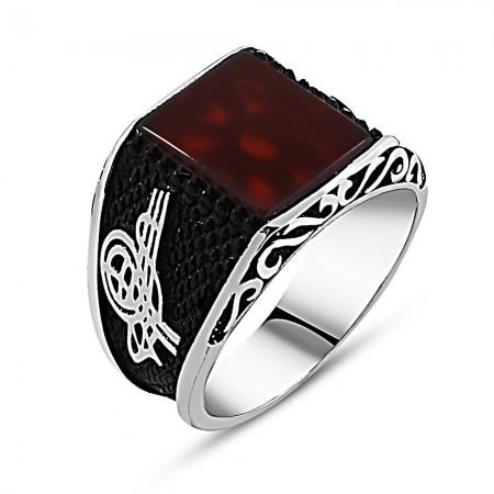 Tesbihane - 925 Ayar Gümüş Tuğra Detaylı Kırmızı Akik Taşlı Yüzük (model 2)