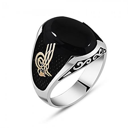 Tesbihane - Özel Tasarım Tuğra İşlemeli Siyah Oniks Taşlı 925 Ayar Gümüş Erkek Yüzük