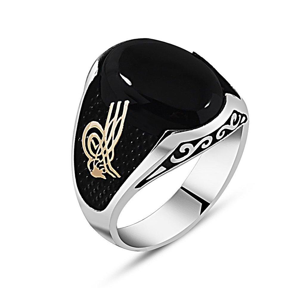 Özel Tasarım Tuğra İşlemeli Siyah Oniks Taşlı 925 Ayar Gümüş Erkek Yüzük
