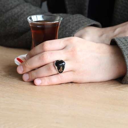 Özel Tasarım Tuğra İşlemeli Siyah Oniks Taşlı 925 Ayar Gümüş Erkek Yüzük - Thumbnail
