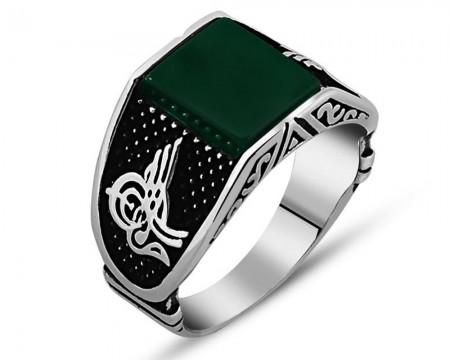 Tesbihane - 925 Ayar Gümüş Tuğra Detaylı Yeşil Akik Taşlı Yüzük (Model-2)