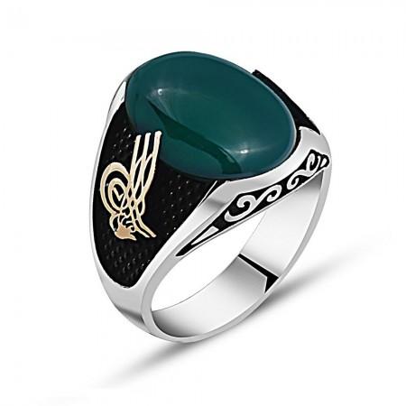 Tesbihane - 925 Ayar Gümüş Tuğra Detaylı Yeşil Akik Taşlı Yüzük
