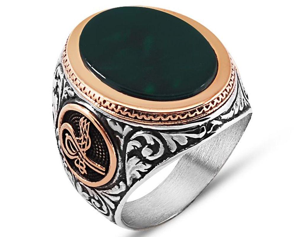 925 Ayar Gümüş Tuğra Detaylı Yeşil Akik Yüzük
