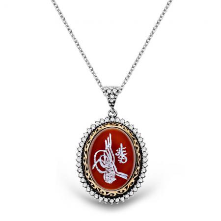 Tesbihane - 925 Ayar Gümüş Tuğra El İşçiliği Akik Taşlı Kolye