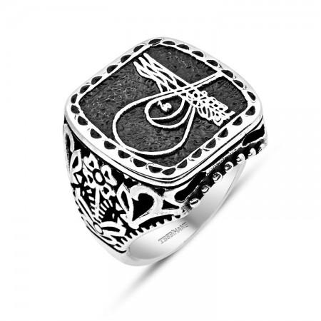 Tesbihane - 925 Ayar Gümüş Tuğra İşlemeli Yüzük