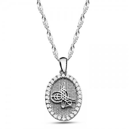 Tesbihane - 925 Ayar Gümüş Tuğra Model Oval Kolye