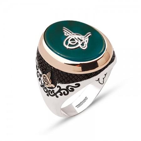 - 925 Ayar Gümüş Tuğra Model Yeşil Akik Taşlı Yüzük