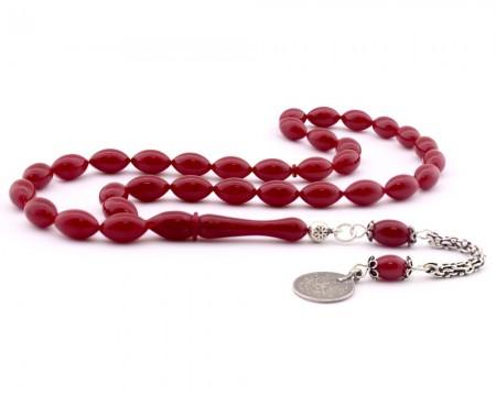 Tesbihane - 925 Ayar Gümüş Tuğra Püskül Kırmızı Sıkma Kehribar Tesbih(Model-2)