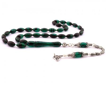 Tesbihane - 925 Ayar Gümüş Tuğra Püskül Koyu Yeşil Sıkma Kehribar Tesbih