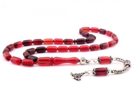Tesbihane - 925 Ayar Gümüş Tuğra Püsküllü Kapsül Kesim Kırmızı Sıkma Kehribar Tesbih