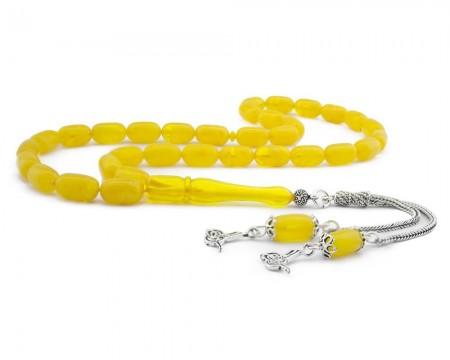 Tesbihane - 925 Ayar Gümüş Tuğra Püsküllü Kapsül Kesim Sarı Sıkma Kehribar Tesbih