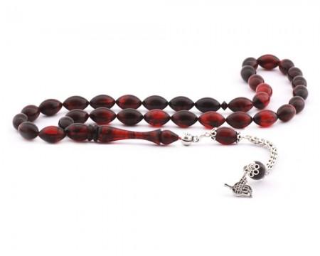 Tesbihane - 925 Ayar Gümüş Tuğra Püsküllü Kırmızı Sıkma Kehribar Tesbih