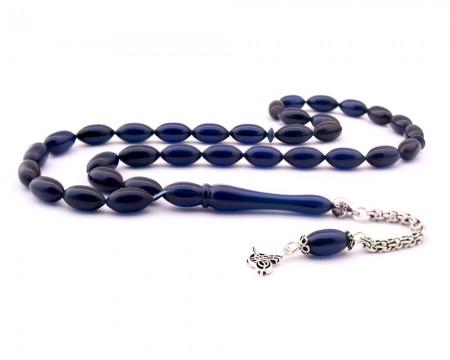 - 925 Ayar Gümüş Tuğra Püsküllü Koyu Mavi Sıkma Kehribar Tesbih