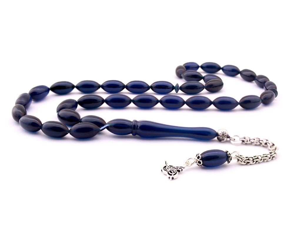 925 Ayar Gümüş Tuğra Püsküllü Koyu Mavi Sıkma Kehribar Tesbih