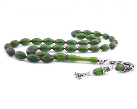 Tesbihane - 925 Ayar Gümüş Tuğra Püsküllü Koyu Yeşil Sıkma Kehribar Tesbih