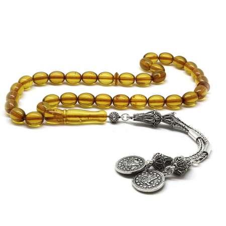 Tesbihane - 925 Ayar Gümüş Tuğra Püsküllü Özel Kesim Sarı Damla Kehribar Tesbih