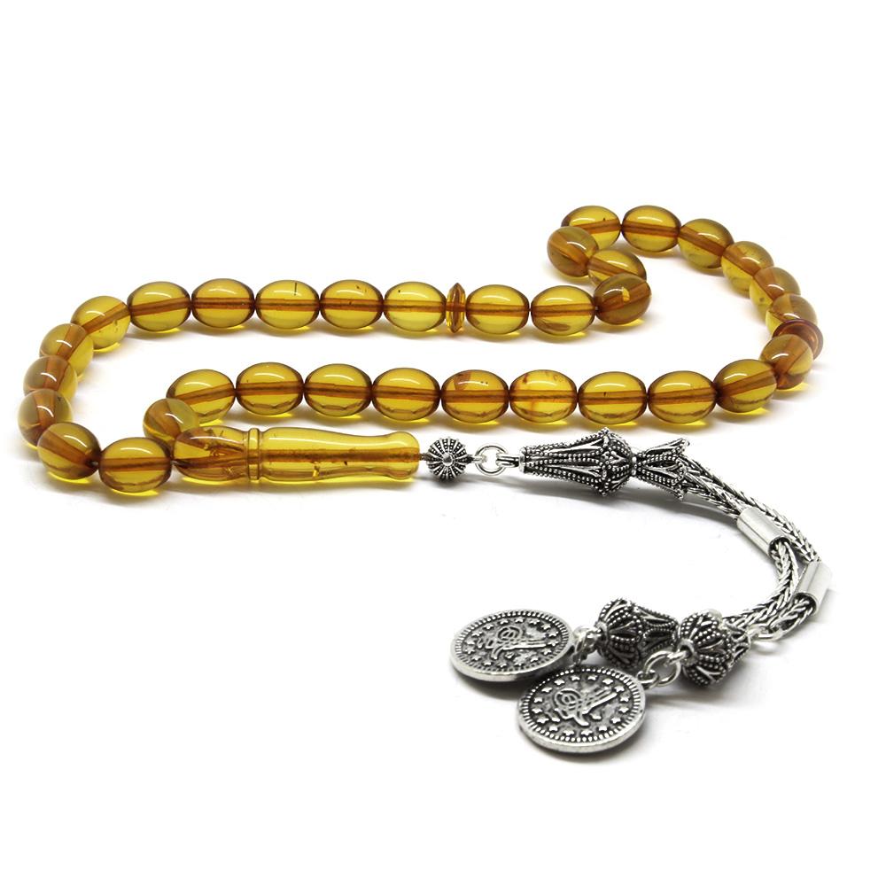 925 Ayar Gümüş Tuğra Püsküllü Özel Kesim Sarı Damla Kehribar Tesbih