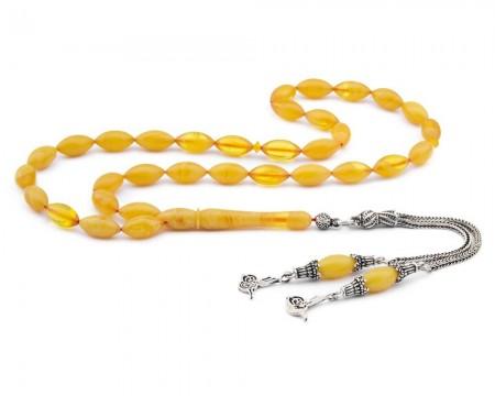 - 925 Ayar Gümüş Tuğra Püsküllü Sarı Sıkma Kehribar Tesbih