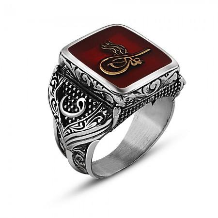 Tesbihane - 925 Ayar Gümüş Tuğra Tasarım Maruf Yüzük