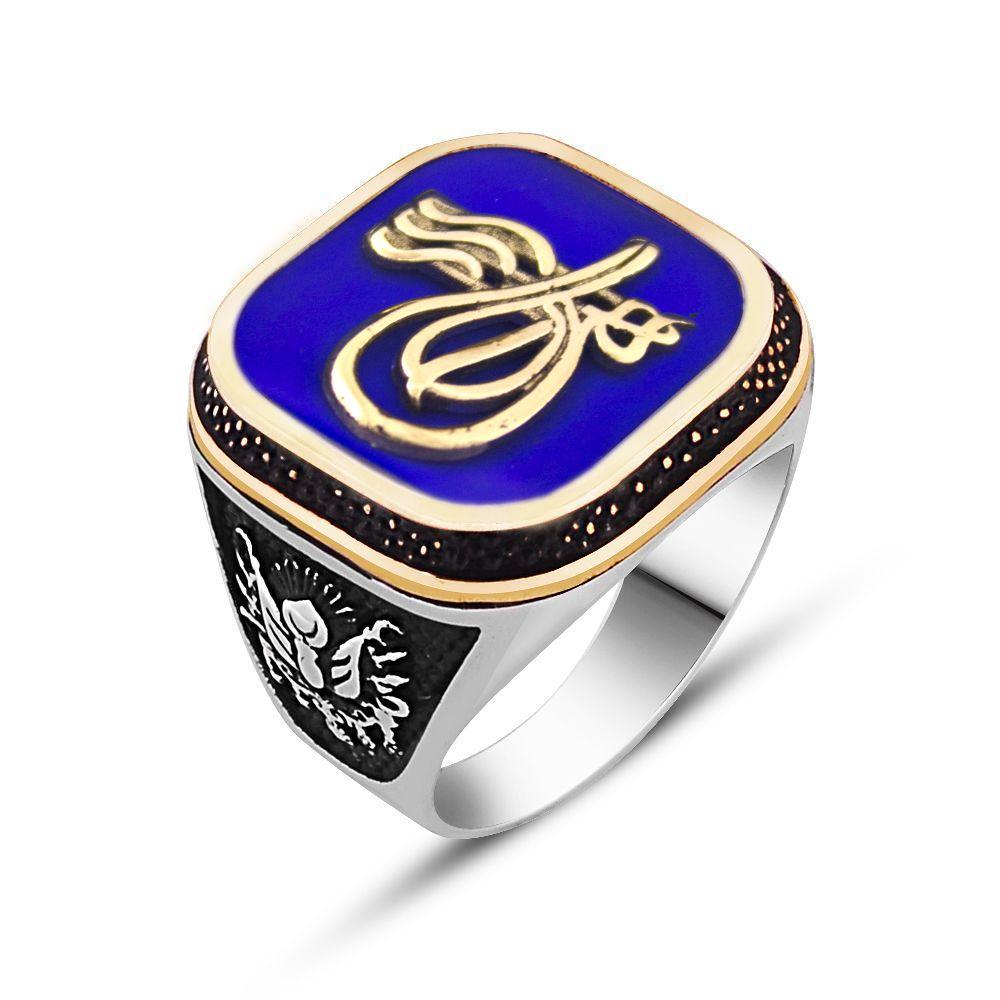 925 Ayar Gümüş Tuğra Tasarım Mavi Mineli Yüzük
