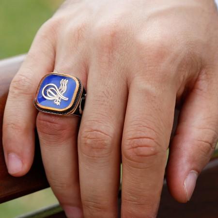 925 Ayar Gümüş Tuğra Tasarım Mavi Mineli Yüzük - Thumbnail