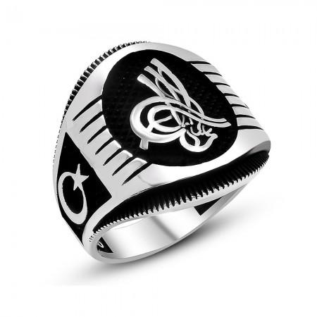 Tesbihane - Ayyıldız İşlemeli Oval Tuğra Motifli 925 Ayar Gümüş Erkek Yüzük
